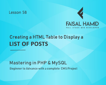 Lesson 58 - Creating a HTML Table to Display a List of Posts