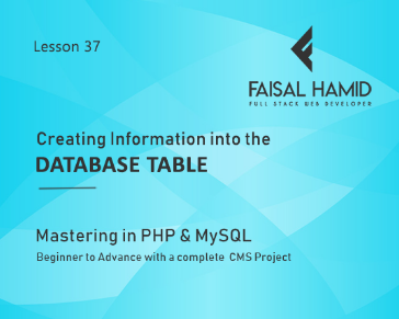 Lesson 37 - Creating Information into the Database table
