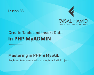 Lesson 33 - Create Tables and Inserting Data in PHP MyAdmin