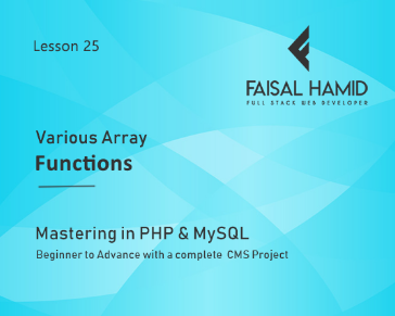 Lesson 25 - Array Functions in PHP